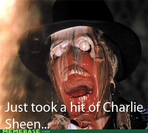 Charlie Sheen,face melting,Indiana Jones,nazis