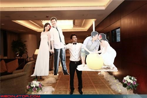 cardboard cutouts,couple,friends,funny wedding photos