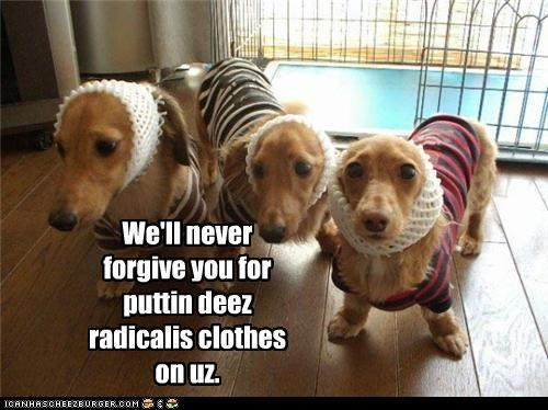 We'll never forgive you for puttin deez radicalis clothes on uz.