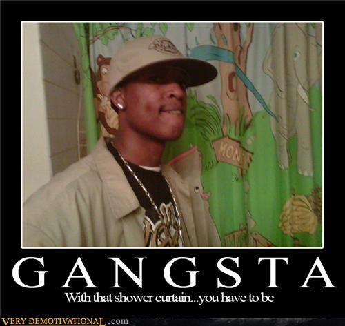 animals gangsta shower curtain tough guy wtf