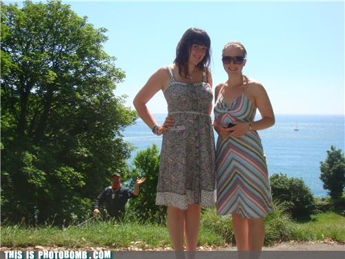 bad puns dresses gardeners girls outdoors photobomb waving