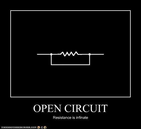 OPEN CIRCUIT Resistance is infinate