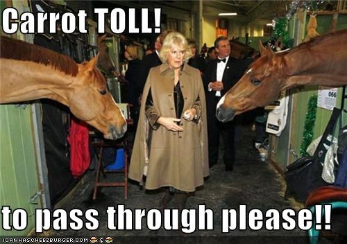animals,British,Camilla Parker-Bowles,carrots,horses,royalty,toll