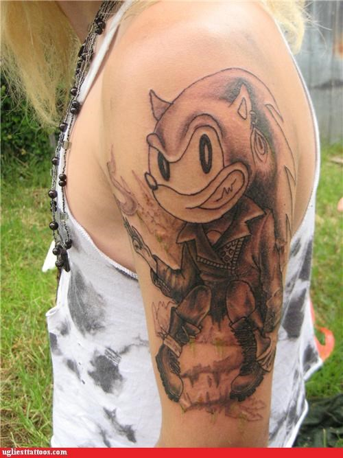 wtf,cyberpunk,tattoos,funny,sonic,g rated,Ugliest Tattoos