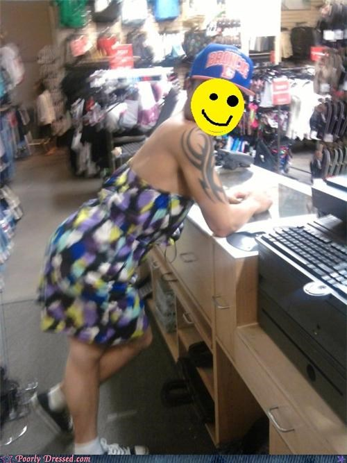 cross dresser,dress,guy,mall,store,tattoo,tribal