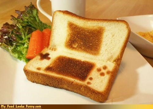 bread,ds,nintendo,nintendo ds,sandwich,toast,video games
