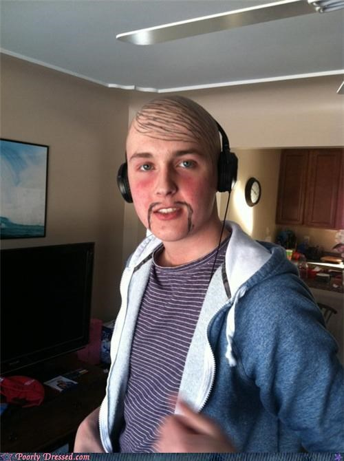 bald headphones marker mustache sharpie - 4531506432