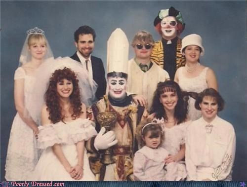 Awkward clown family photos pope wedding