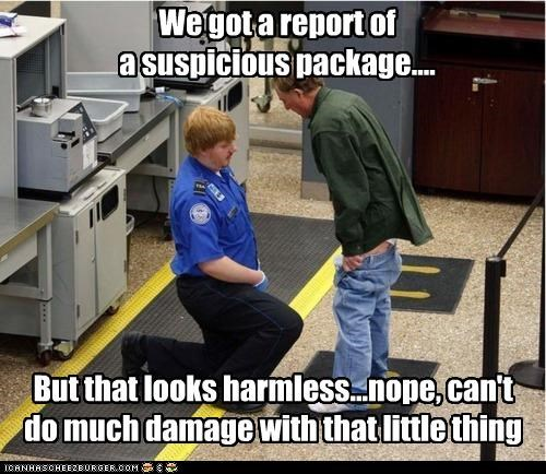 We got a report of a suspicious package.... But that looks harmless...nope, can't do much damage with that little thing