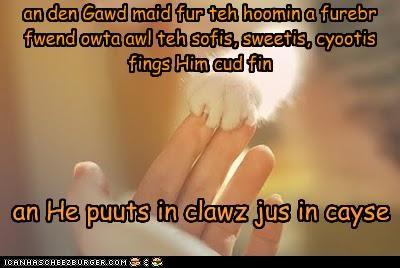 an den Gawd maid fur teh hoomin a furebr fwend owta awl teh sofis, sweetis, cyootis fings Him cud fin an He puuts in clawz jus in cayse