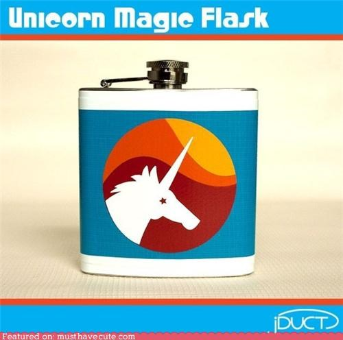 booze,duct tape,flask,magic,unicorn