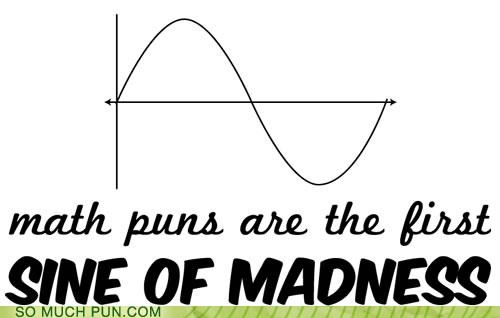 graph,homophone,math,mathematics,puns,secant,sign,sine,sine wave,tangent,tangentially,wave