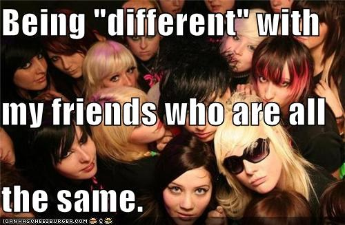 conformity,different,emo,friends,same