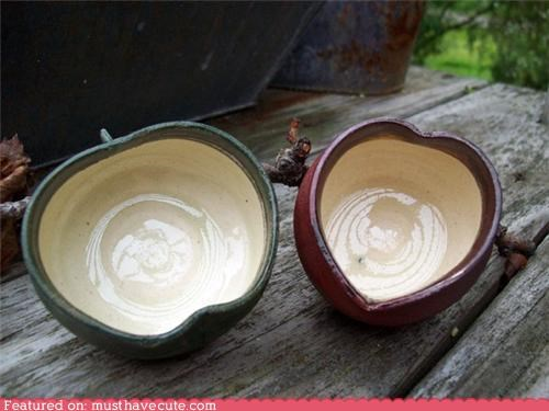 apple bowls ceramic heart pottery - 4534706688