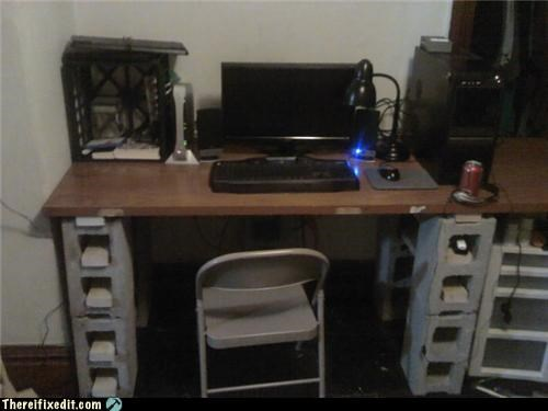 cinderblock,desk,DIY,holding it up