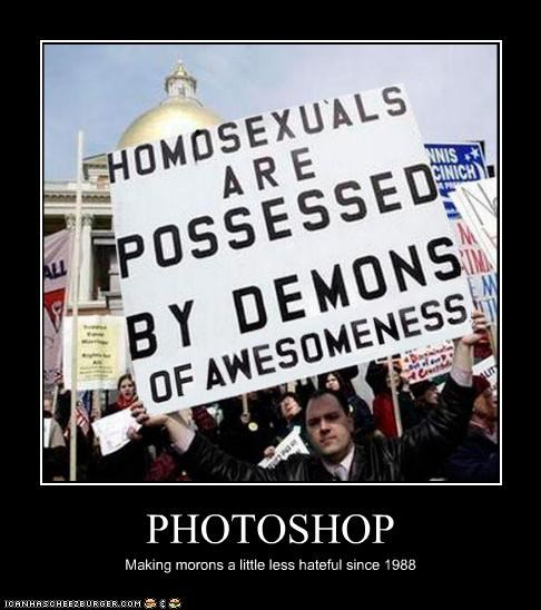 demons,fake,gay,gays,photoshop,protesters,signs
