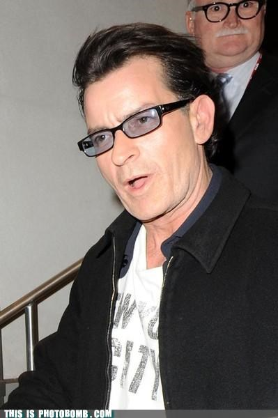 Charlie Sheen,implied sexual encounter,old guy,photobomb,winning,wtf