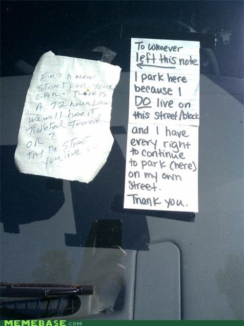 cars IRL neighbors notes parking passive aggression streets - 4535511040
