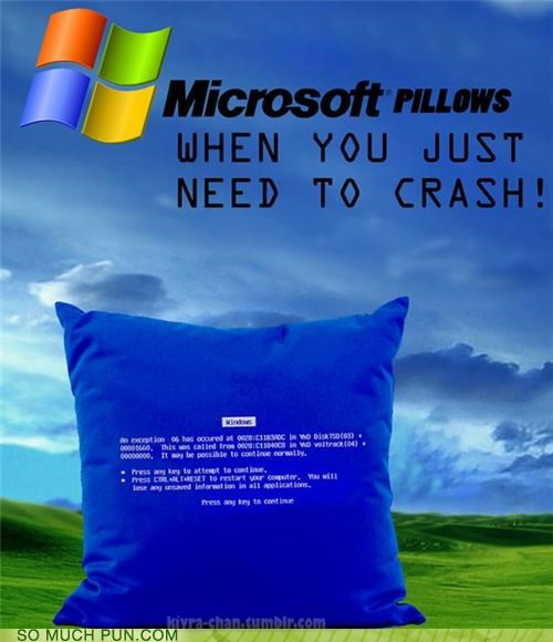 crash double meaning down down time microsoft parody Pillow pillows satire windows - 4535891712