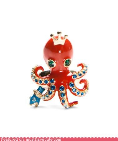 Betsey Johnson crown Jewelry octopus ring