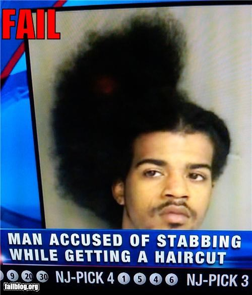 bad idea,failboat,g rated,haircut,half done hair,irony,stabbing,television,timiing,timing