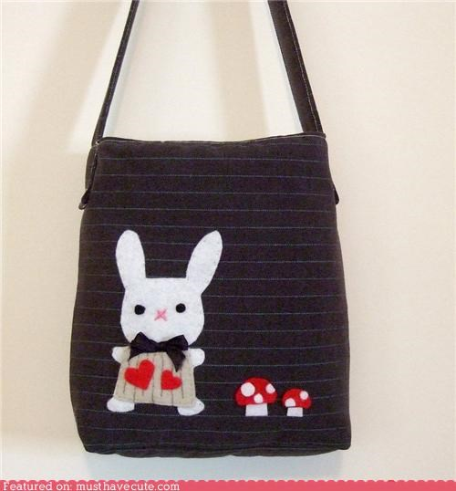 applique bag bunny felt Mushrooms stripes