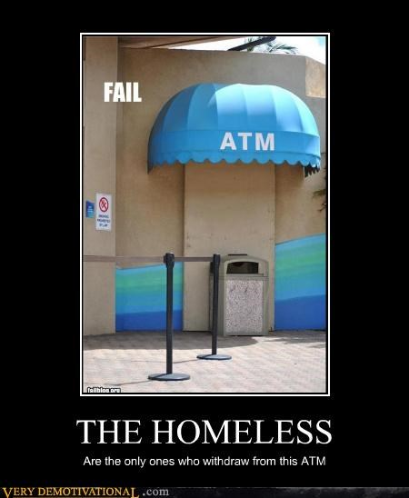 ATM homeless sad face trashcan