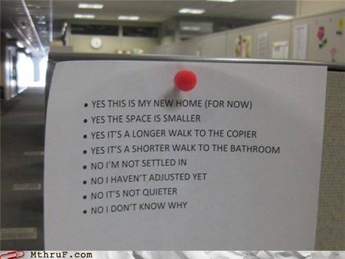 cubicle move note Office passive aggressive sign - 4538362880