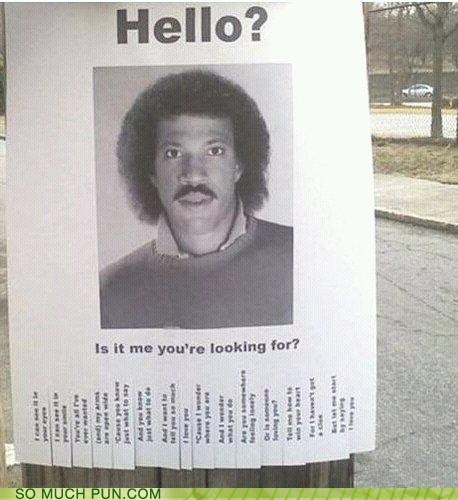 flyer,found,hello,lionel richie,literalism,lost,lyric,question,song