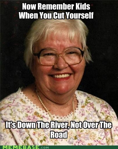 advice,cutting,grannie,helpful,river,rude
