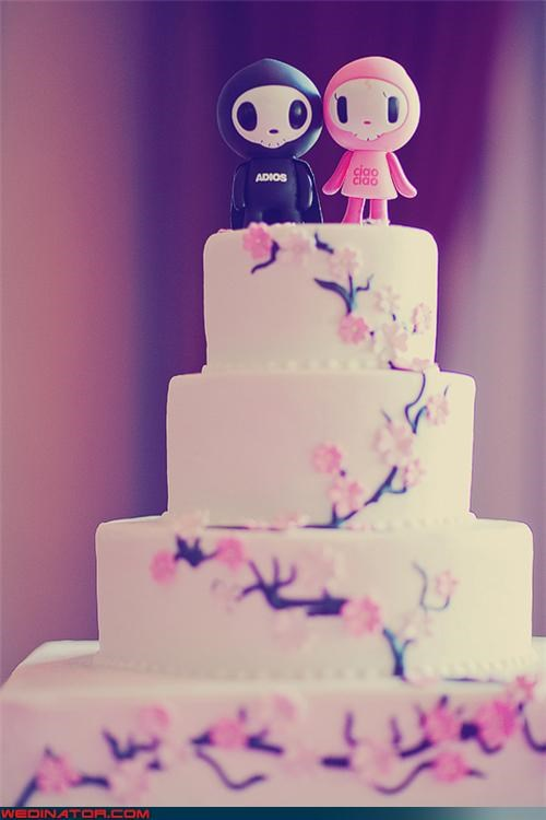 cake cherry blossom funny wedding photos japanese ninjas wedding cake