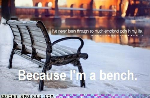 benches crying emo emolulz pain snow - 4538507008