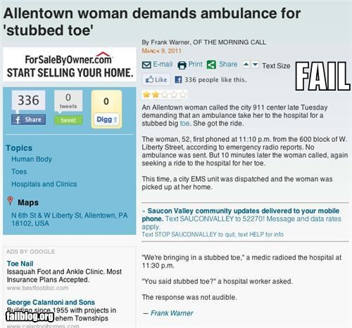 911,failboat,g rated,news,ouch,Probably bad News,stubbed,toes,wambulance rides