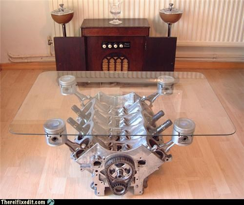 cars,coffee table,dual use,engine,Hall of Fame,not a kludge
