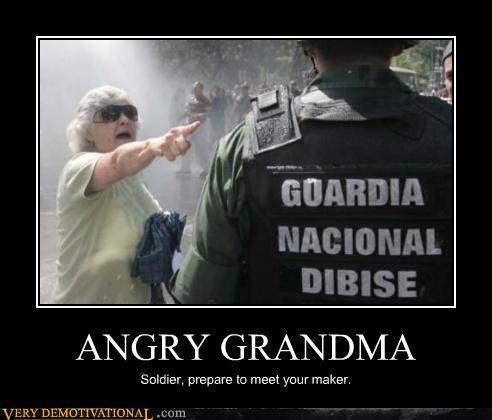 angry,grandman,soldier