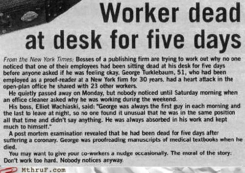 dead Death desk employee health safety worker