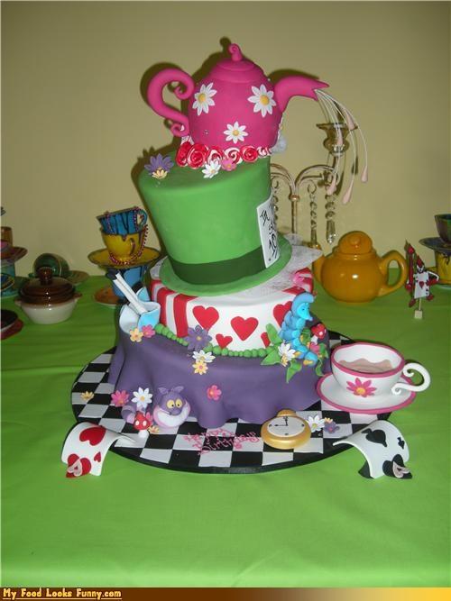 alice in wonderland cake epicute fondant hat tea teapot - 4540742400