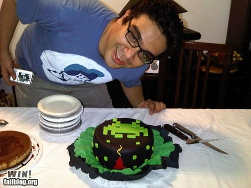 cake,food,nerdgasm,space invaders,video games