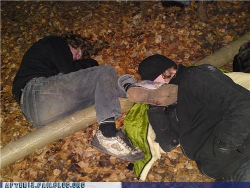 drunk outdoors passed out tree - 4540837376