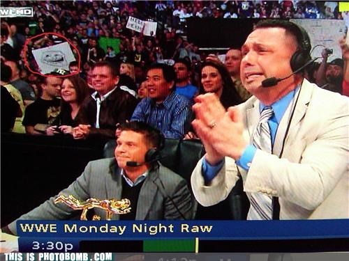 photobomb sign troll TV wrestling wwe