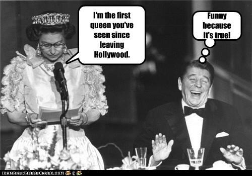 gays,hollywood,laughing,presidents,queen,Queen Elizabeth II,Ronald Reagan
