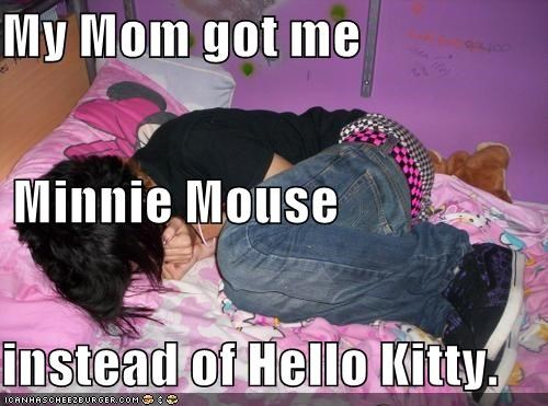hello kitty,minnie mouse,pink,sad face