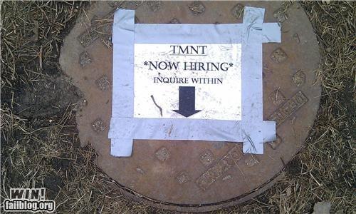 hacked ninja turtles sewers signs TMNT - 4541736192