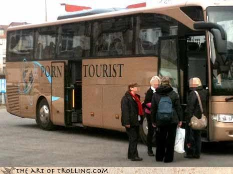 adult entertainment,IRL,probably europe or something,tourist,troll bus,what did it really say