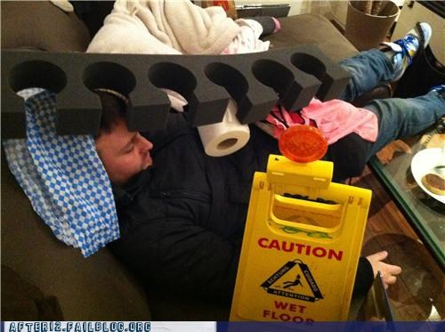 caution,cone,drunk,nail,paper towel,passed out,stacking