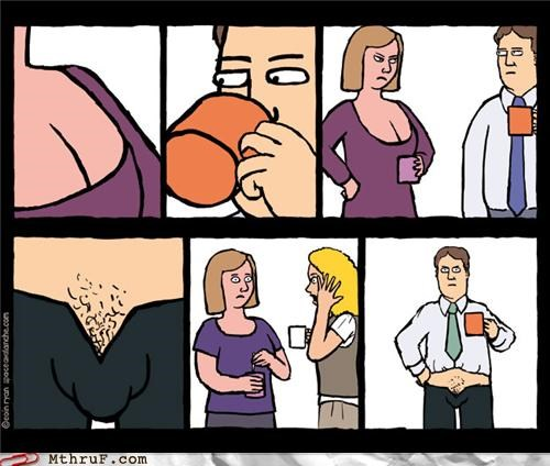 cleavage coffee comic penis sexual harassment - 4541907456