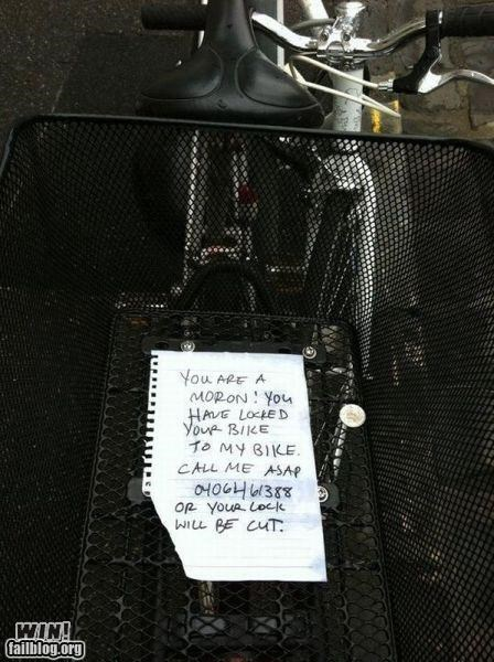 bicycle,notes,passive aggressive,stupidity