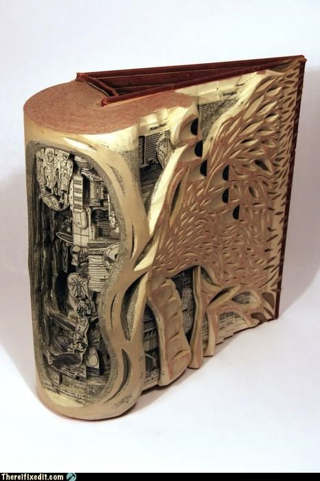 art,beautiful,books,carving,not a kludge,reading