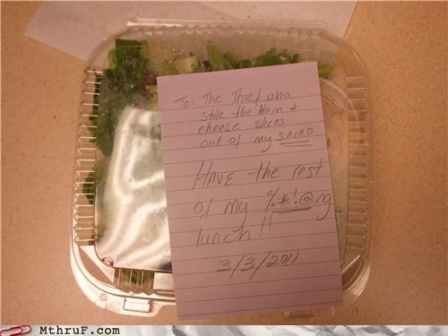 break room cheese fridge ham salad thief - 4543150592