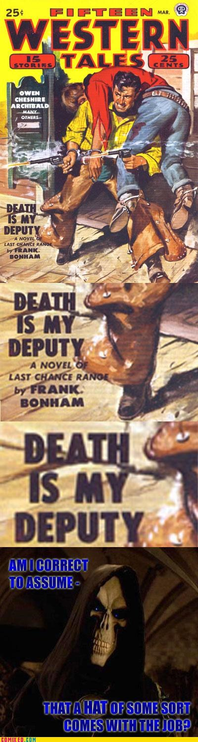 comic,Death,deputy,hat,western